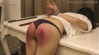 Chinese girl receives a long and painful paddling in a hotel